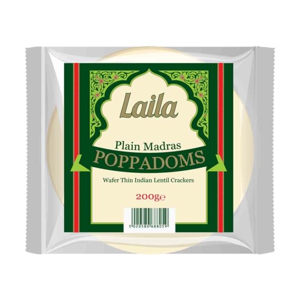 Poppadoms, Madras Poppadoms, lentil crackers, snacks, laila foods