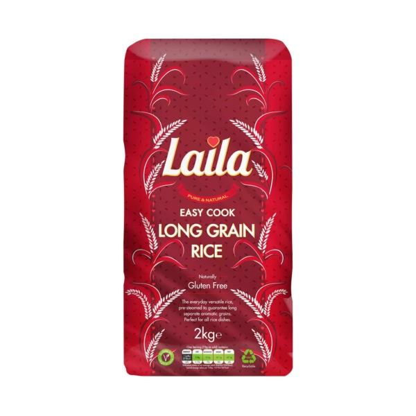 Long grain rice, easy cook rice, laila rice, rice online, 2kg pack, laila foods, grocery online